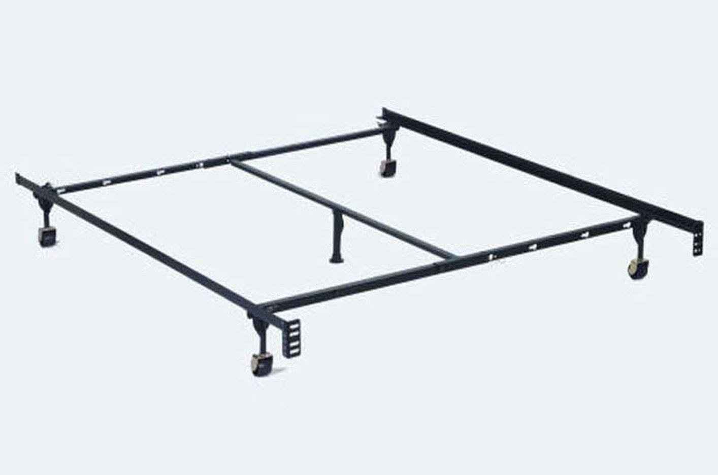 Black metal twin or full or queen size metal bed frame for Full size bed frame