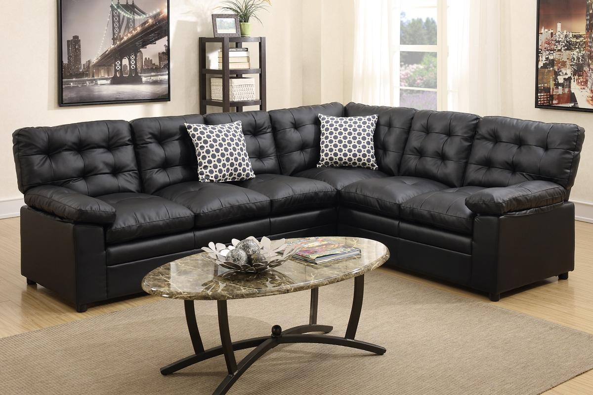 Great Ajax Black Leather Sectional Sofa