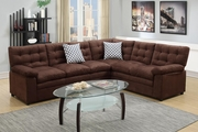 Ajax Brown Fabric Sectional Sofa