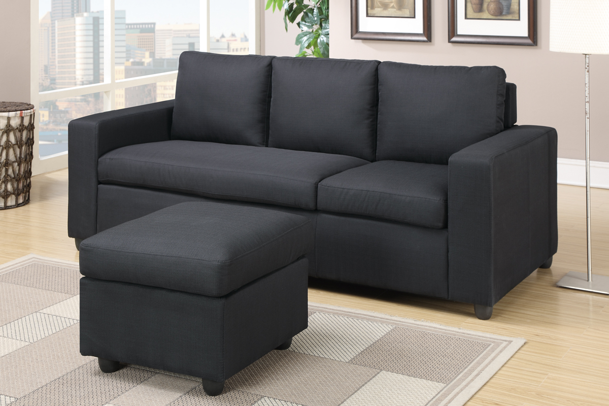 Poundex akeneo f7490 black fabric sectional sofa for Black fabric couches