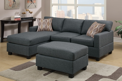 Akeneo Grey Fabric Sectional Sofa and Ottoman