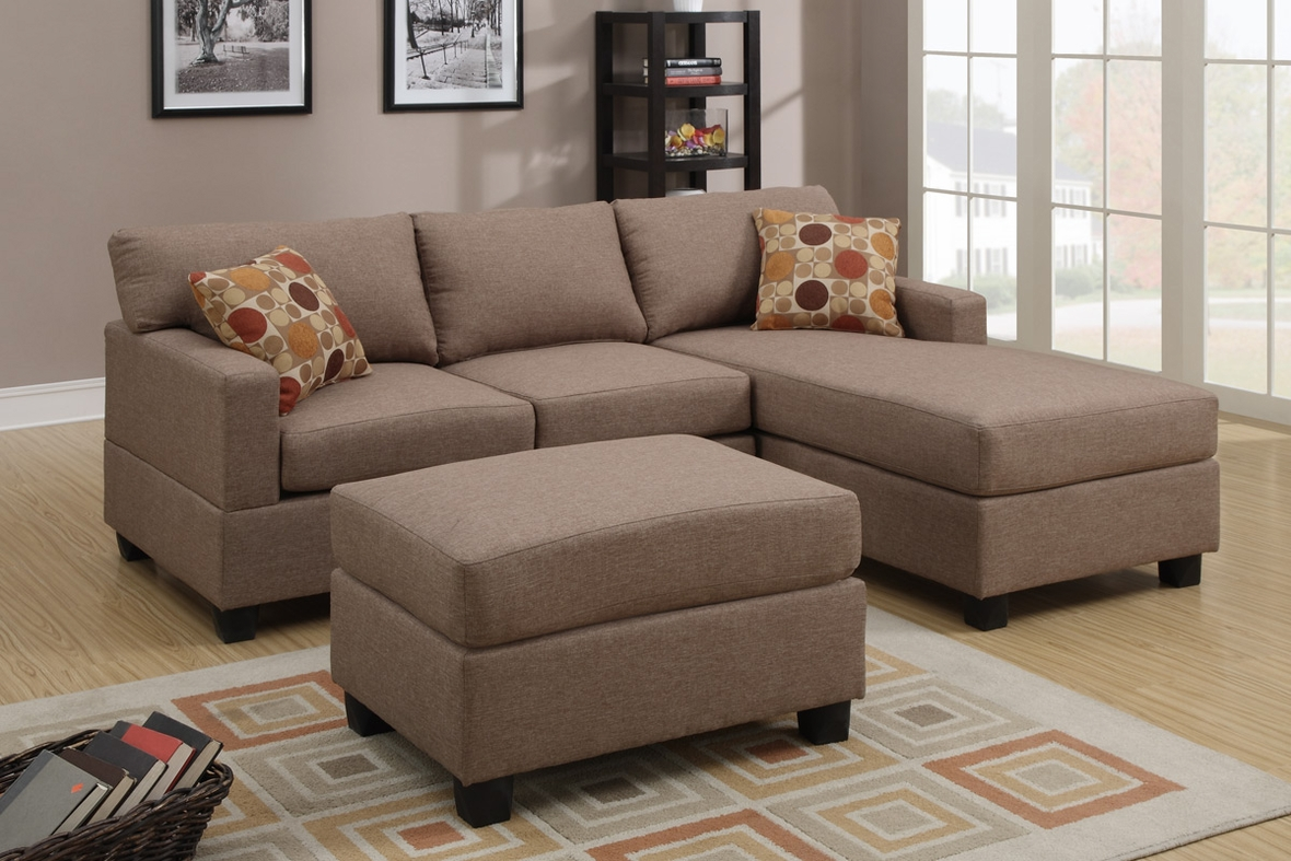 Akeneo beige fabric sectional sofa and ottoman steal a for Barcelona sectional sofa ottoman in beige