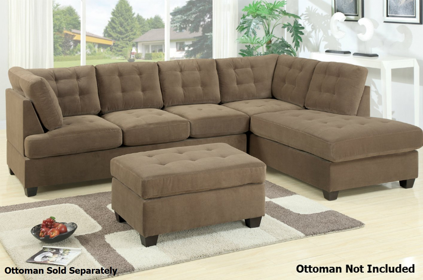 Poundex gustav f7140 brown fabric sectional sofa steal a for Brown sectionals with chaise