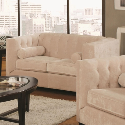 Alexis Beige Fabric Loveseat