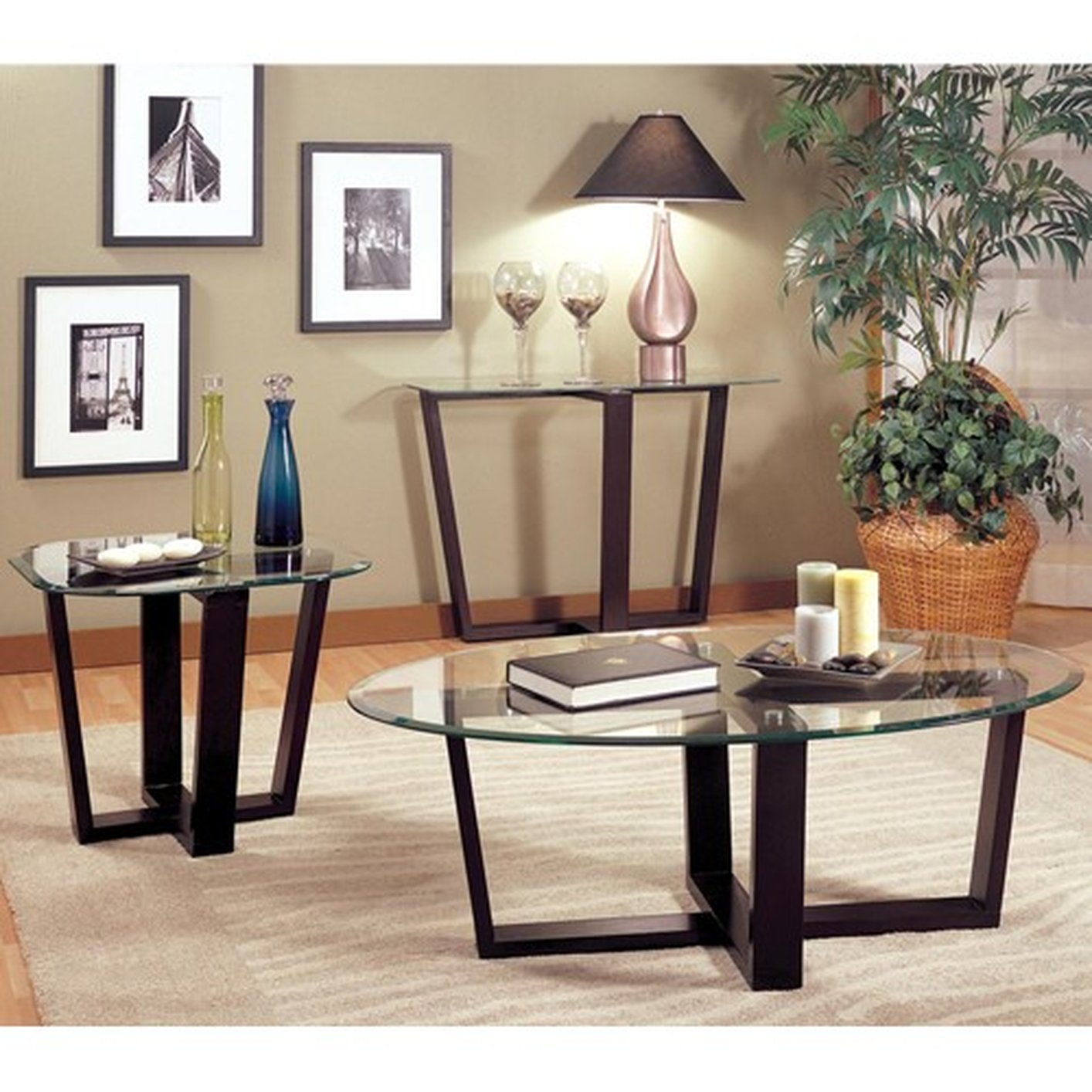 Alexis Black Glass Coffee Table Set - Coaster Alexis 700275 Black Glass Coffee Table Set - Steal-A-Sofa