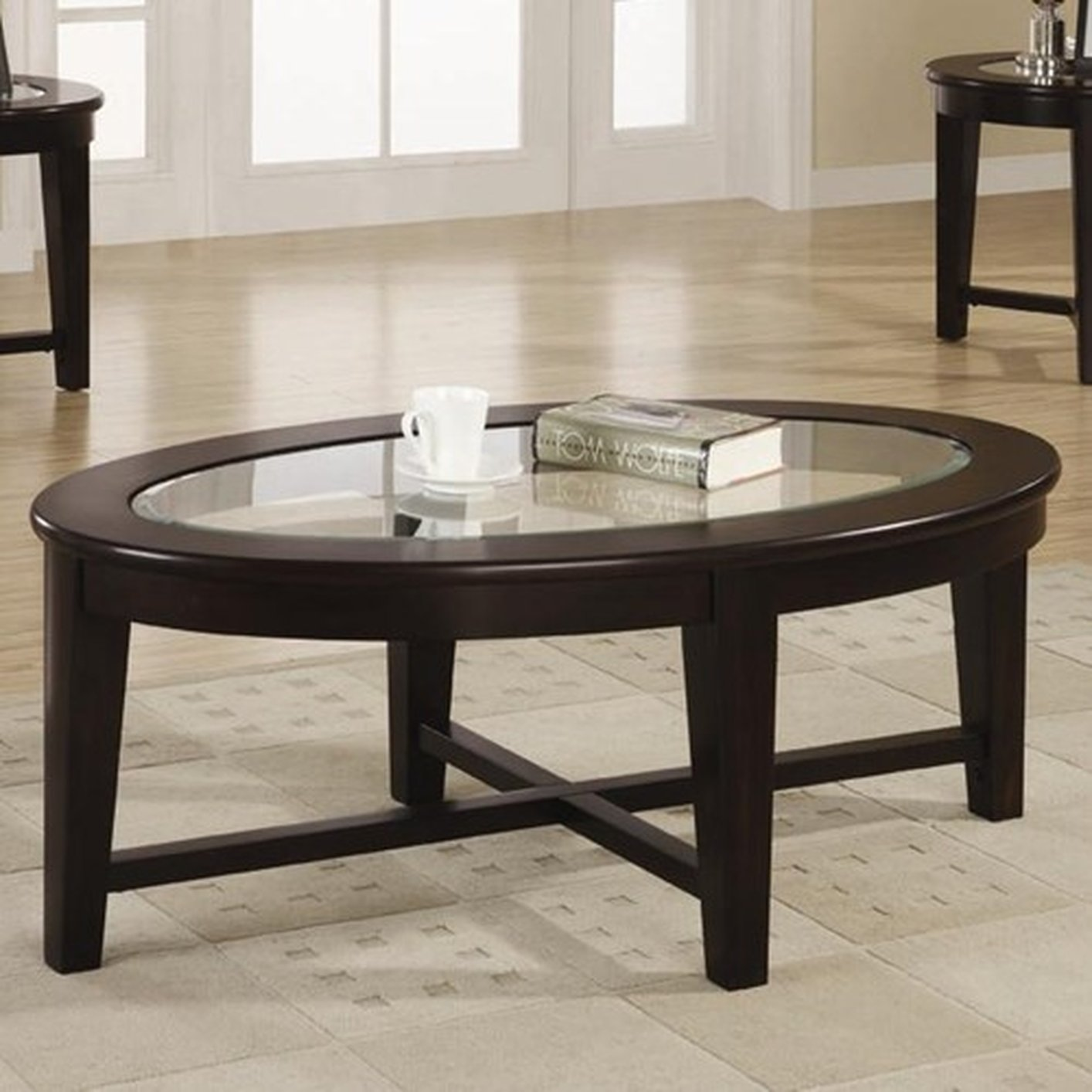 ... Alexis Brown Glass Coffee Table Set ...