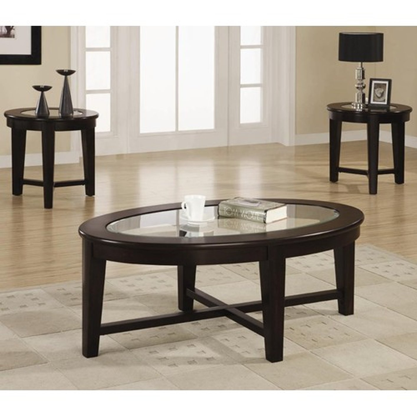 Alexis Brown Glass Coffee Table Set - Coaster Alexis 701511 Brown Glass Coffee Table Set - Steal-A-Sofa