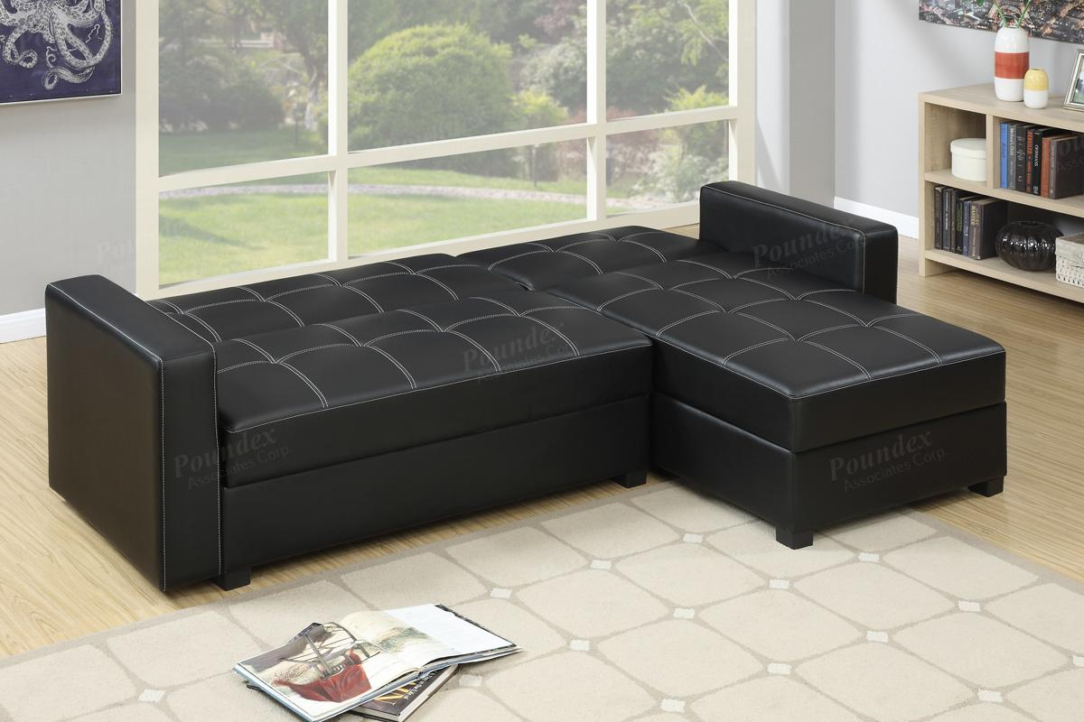 Gentil Amala Black Leather Sectional Sofa Bed Amala Black Leather Sectional Sofa  Bed ...