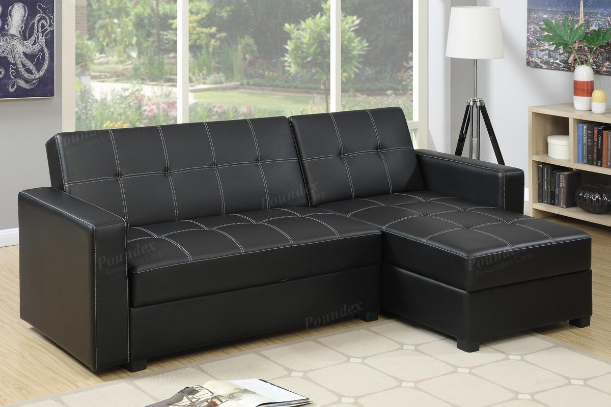 Poundex Amala F7894 Black Leather Sectional Sofa Bed Steal A Sofa Furniture Outlet Los Angeles Ca