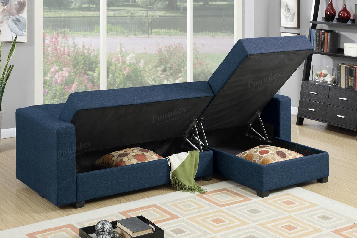 Blue Fabric Sectional Sofa Bed StealASofa Furniture Outlet Los