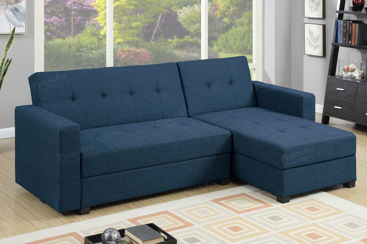 Amala Blue Fabric Sectional Sofa Bed