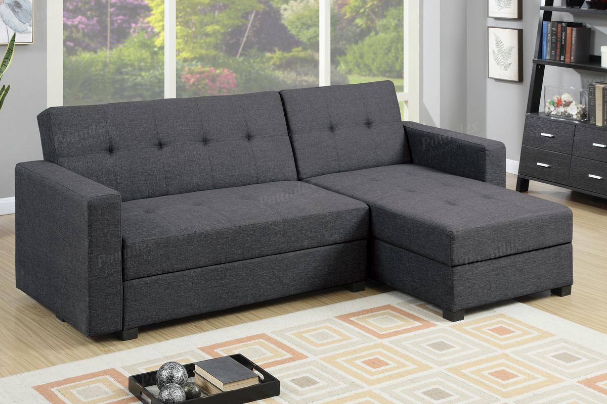 Amala Grey Fabric Sectional Sofa Bed : sectional with storage - Sectionals, Sofas & Couches