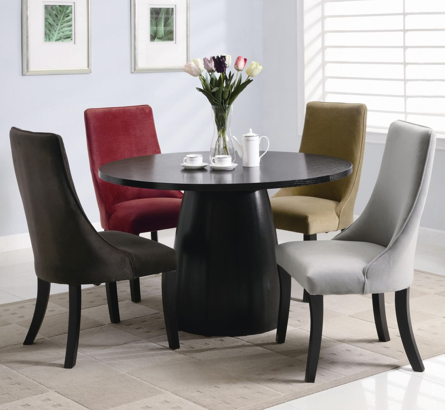 Amhurst Black Satin Wood Dining Table StealASofa Furniture - Kitchen table los angeles