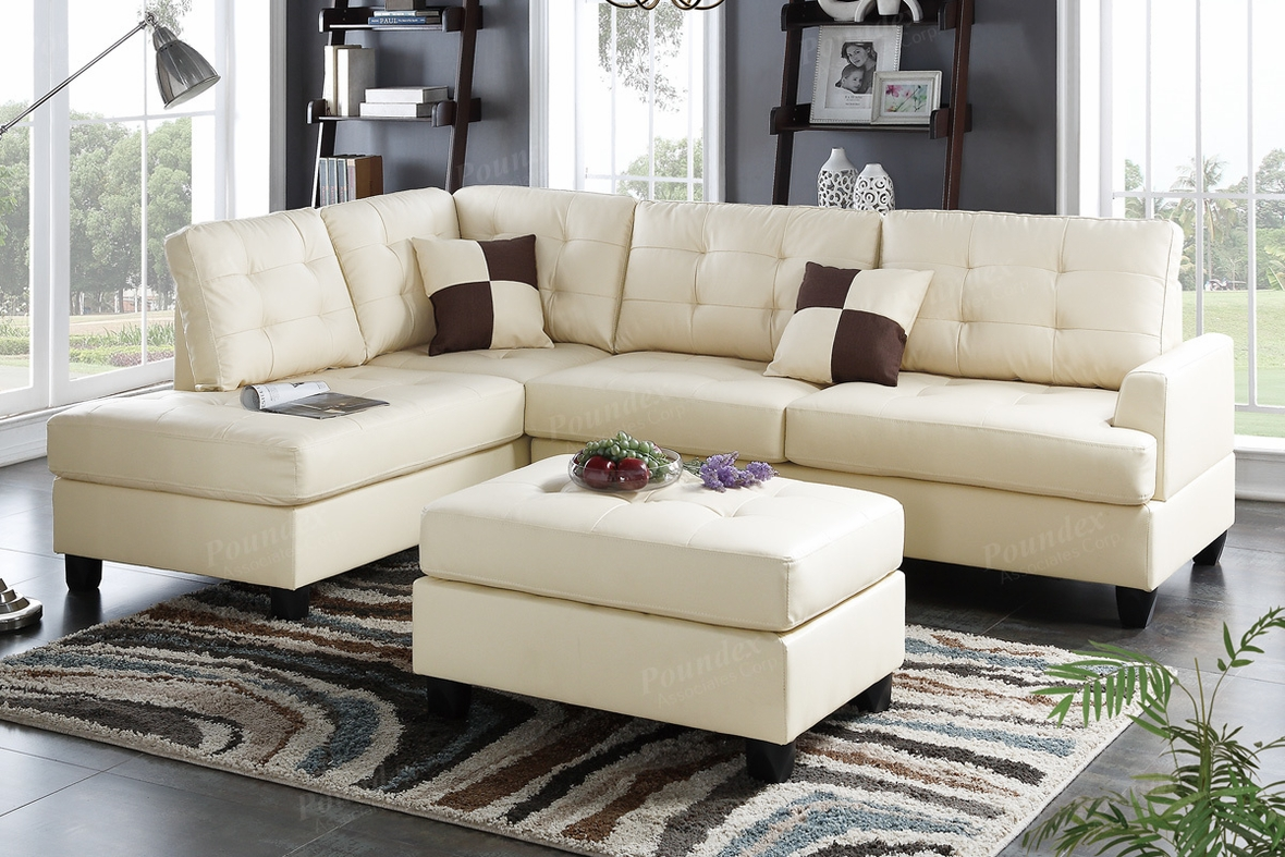 Poundex Ancel F6856 Beige Leather Sectional Sofa And