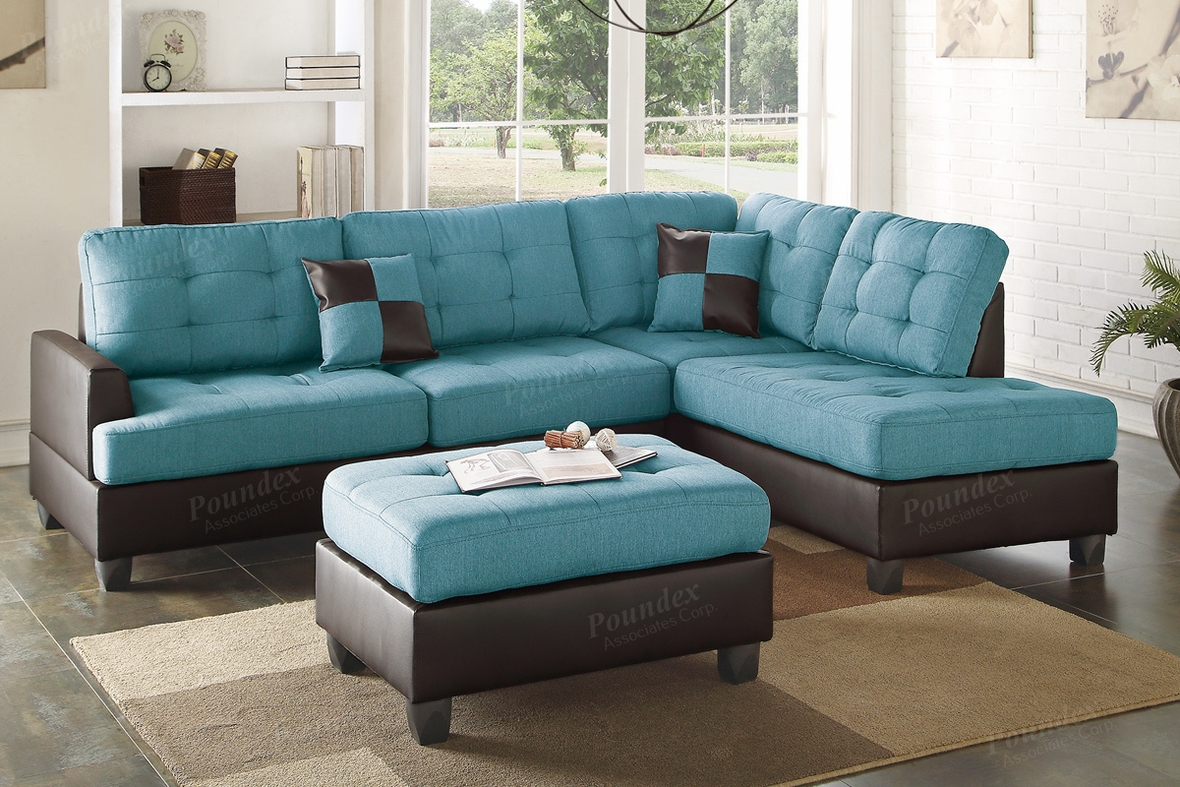 Ancel blue leather sectional sofa and ottoman steal a for Blue leather sofa