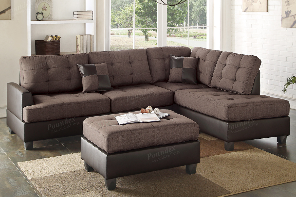 Ancel Brown Leather Sectional Sofa and Ottoman : brown leather sectional sofa - Sectionals, Sofas & Couches