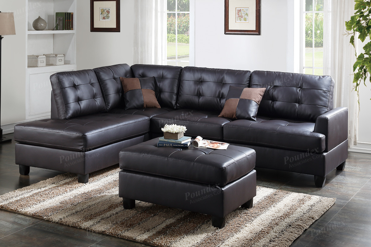 ancel brown leather sectional sofa and ottoman - Sofa Leather