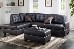 Ancel Brown Leather Sectional Sofa and Ottoman