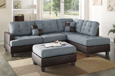 Ancel Grey Leather Sectional Sofa and Ottoman