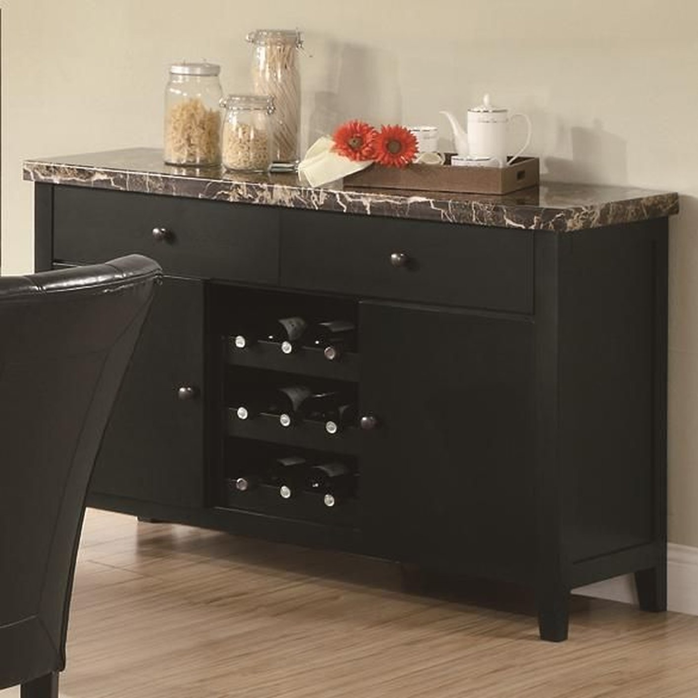 Black Marble Server - Steal-A-Sofa Furniture Outlet Los Angeles CA