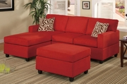 Ellie Red Fabric Sectional Sofa and Ottoman