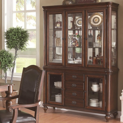 Anson Rich Brown Wood Buffet and Hutch