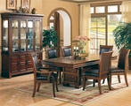 Anson Rich Brown Wood Dining Table Set