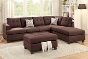 April Brown Fabric Sectional Sofa and Ottoman