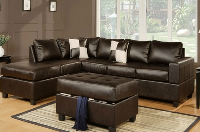 April Brown Leather Sectional Sofa and Ottoman