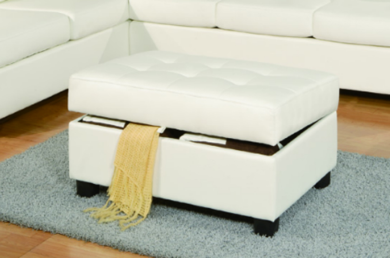 ... April White Leather Sectional Sofa And Ottoman ...