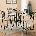 Ardith Brown Metal And Marble Pub Table Set