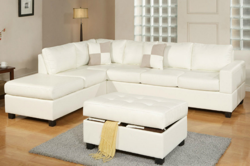 White Leather Sectional Sofa and Ottoman StealASofa Furniture
