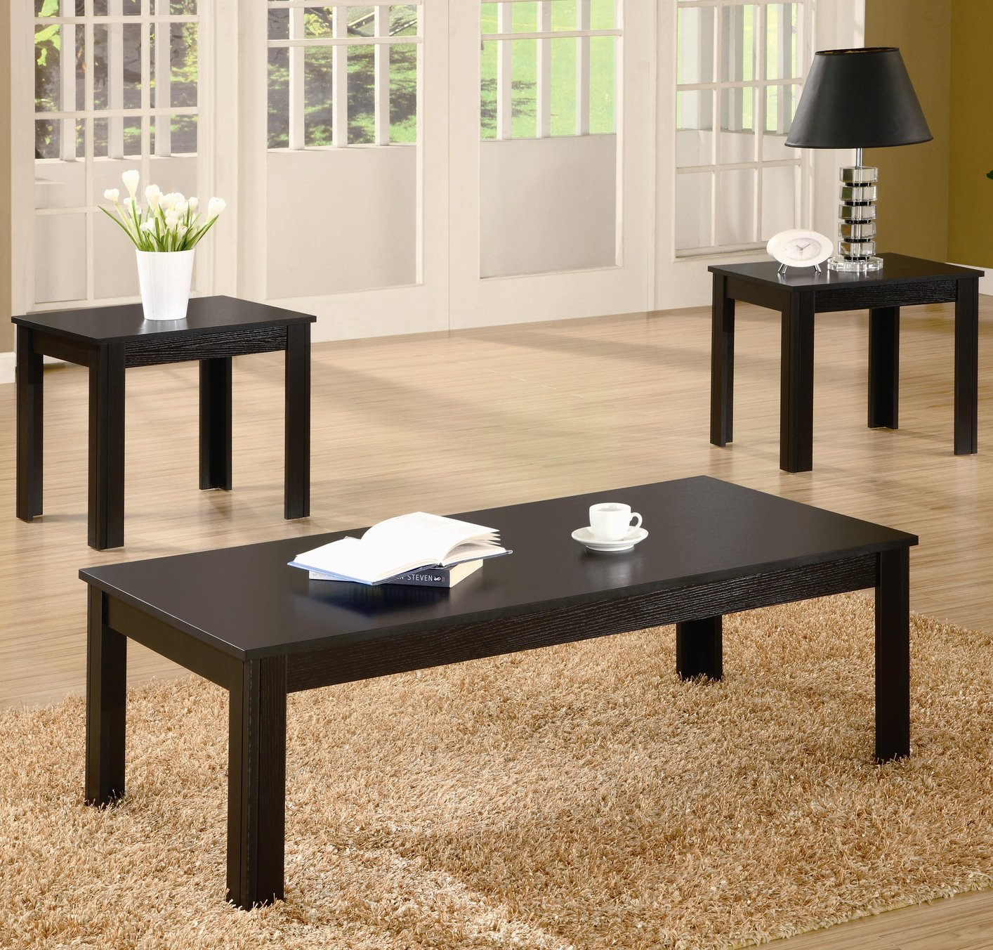 441ed1623c1f Black Wood Coffee Table Set - Steal-A-Sofa Furniture Outlet Los Angeles CA