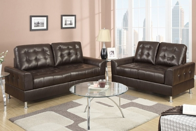 Bailey Espresso Bonded Leather Sofa And Loveseat Set