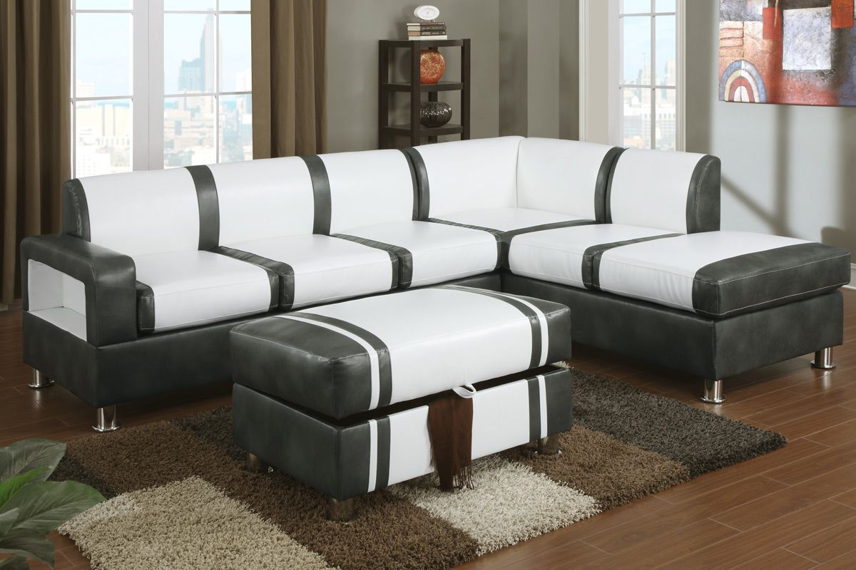 Barnes Cream And Gray Bonded Leather Sectional Sofa With Ottoman
