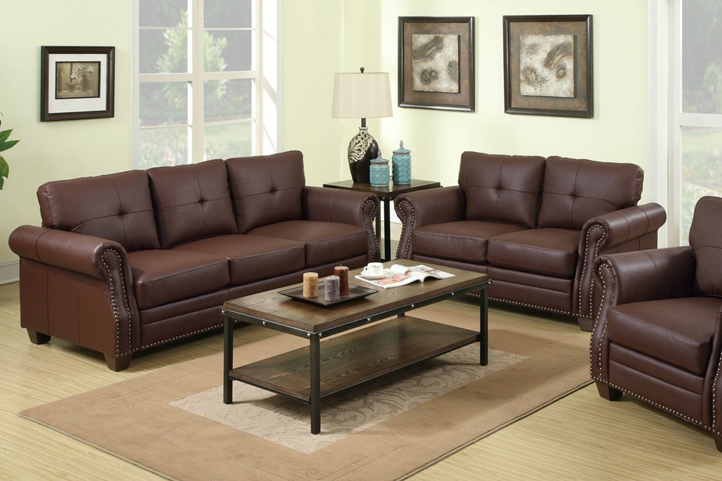 Poundex baron f7799 brown leather sofa and loveseat set for Sofa and loveseat set