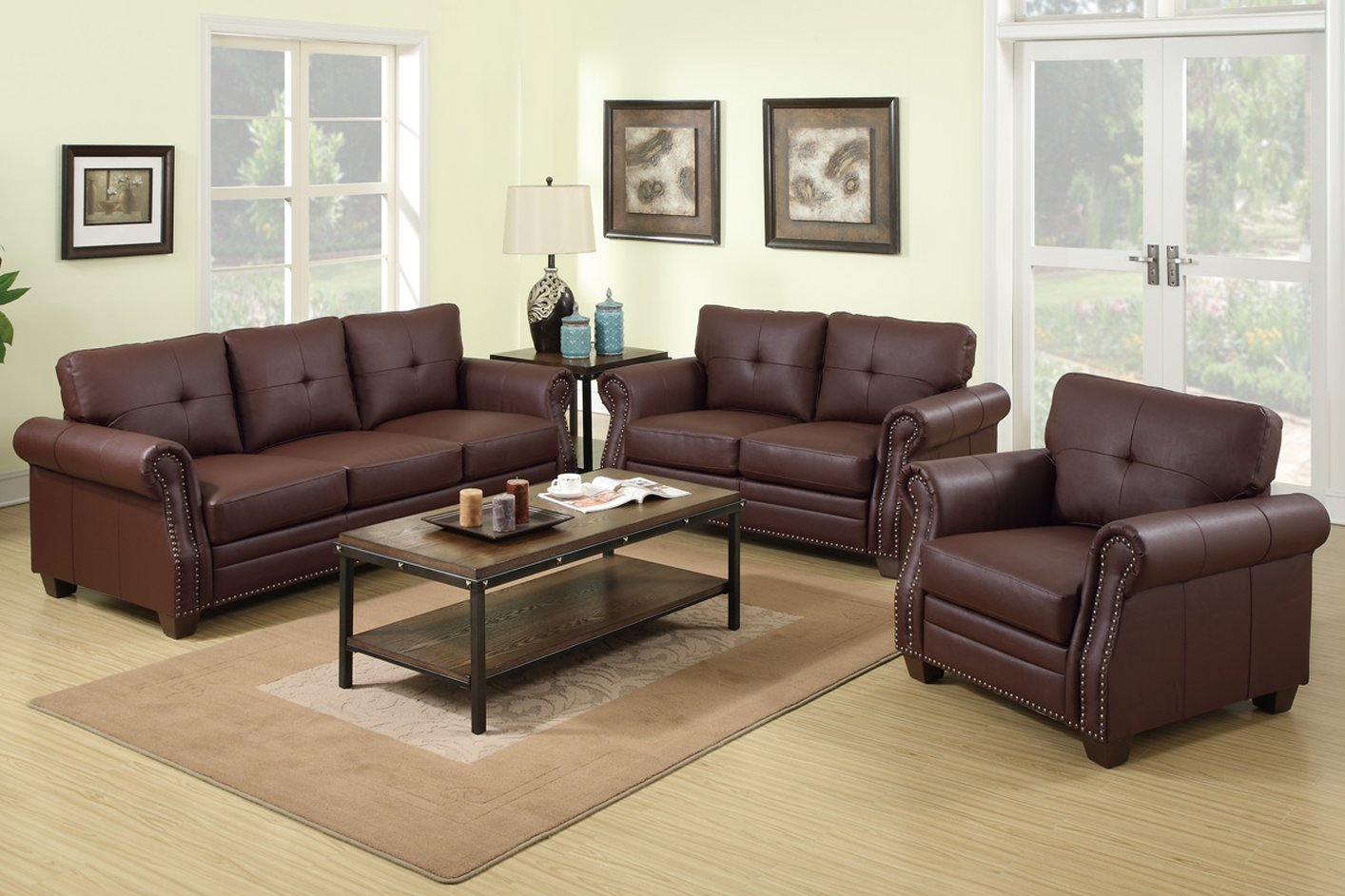 Poundex baron f7799 brown leather sofa and loveseat set for Leather sofa set