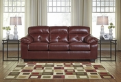 Bastrop Red Leather Sofa