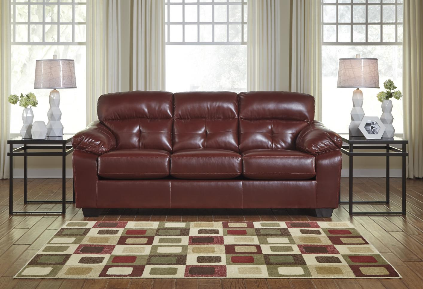 ashley red leather sofa