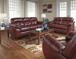 Bastrop Red Leather Sofa and Loveseat Set