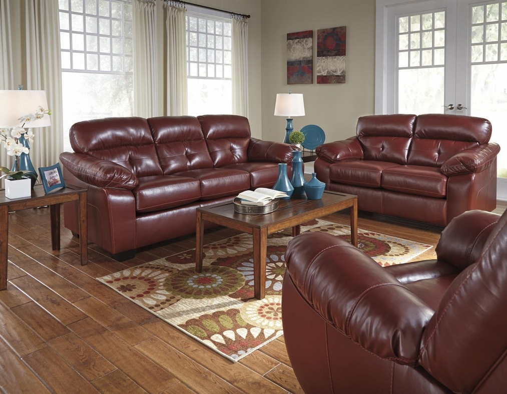 Benchcraft by ashley bastrop 4460238 4460235 red leather for Leather sofa and loveseat set