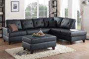 Beaufort Black Leather Sectional Sofa