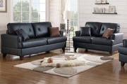 Beaufort Black Leather Sofa and Loveseat Set