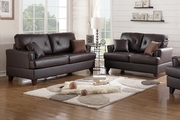 Beaufort Brown Leather Sofa and Loveseat Set