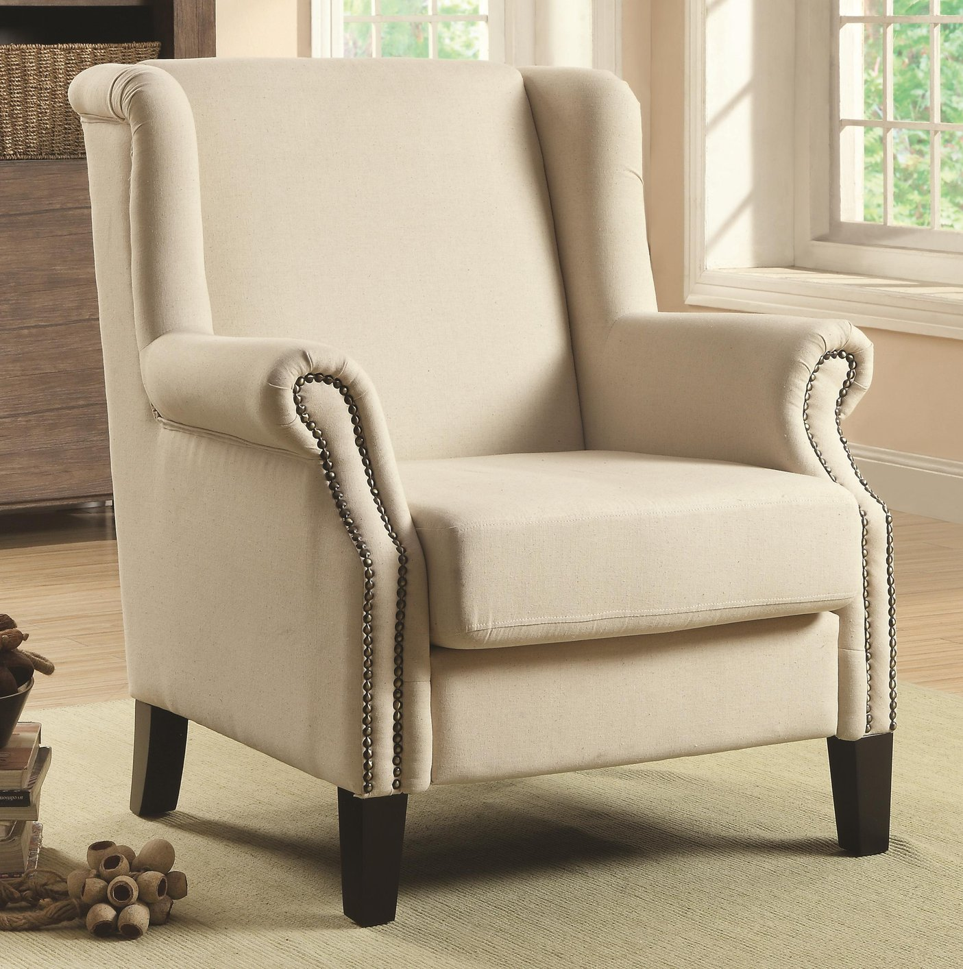 Beige Fabric Accent Chair - Steal-A-Sofa Furniture Outlet Los Angeles CA