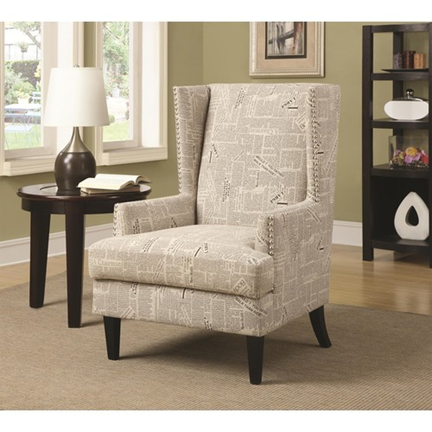 Coaster 902180 beige fabric accent chair steal a sofa for Furniture 90036