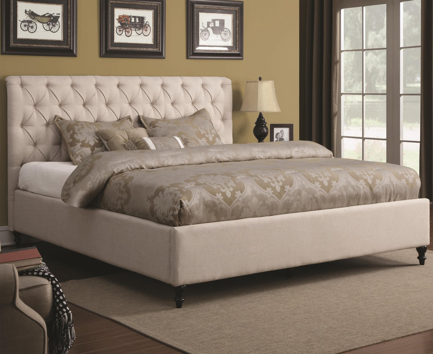 Coaster 300403kw Beige California King Size Fabric Bed