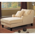Beige Fabric Chaise Lounge