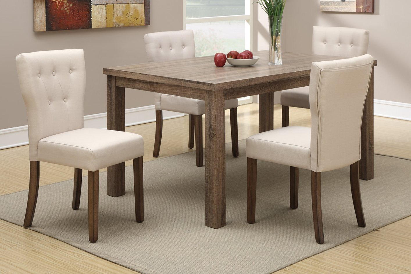 Beige Fabric Dining Chair - Steal-A-Sofa Furniture Outlet Los ...
