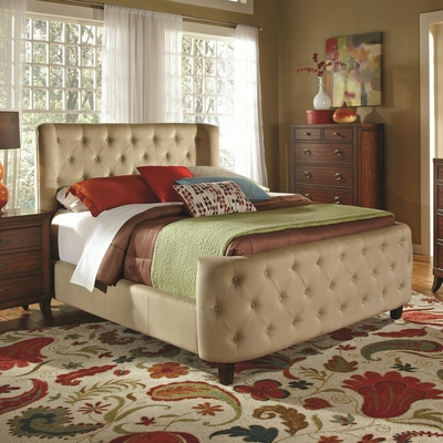 Beige Fabric Eastern King Size Bed